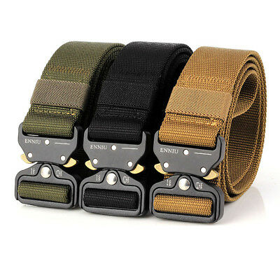 MENS HEAVY DUTY Military Black Belt Army Tough Buckle Strong