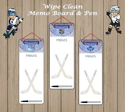 Ice Hockey Team Fans Aluminium White Wipe Clean Memo Board Free Pen Eraser