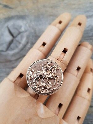 St George Dragon Vintage Bonze Button Upcycled Sterling Silver Ring sz10 .S89