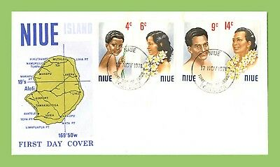 Niue 1971 People/Headress set on Map First Day Cover
