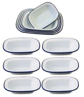 6 X Falcon Enamelware Pie Dish Oblong Dish Cookware Oven Bake Ware Various Sizes