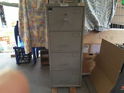 Planex 4 drawer filing document safe cabinet c.class heavy duty metal grey with