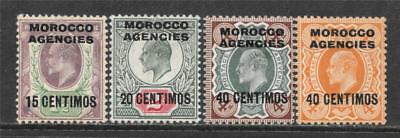 British Morocco 1907-10 King Edward Vii Overprint Sc # 36-37 39-40 Mh + Mnh