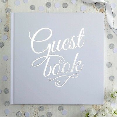 White & Silver GUEST BOOK Foiled Wedding Christening Keepsake 32 Pages Hardback