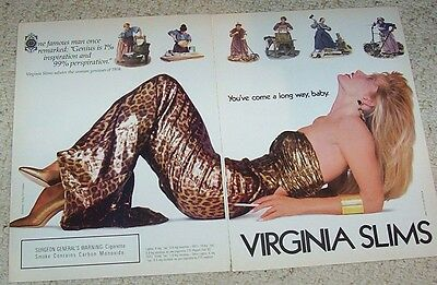 1988 print ad - Virginia Slims cigarettes Sexy blonde Girl smoking vintage AD