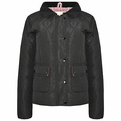 Kids Jackets Girls Black Quilted Padded Collar Buttoned Zipped Jacket Thick Coat