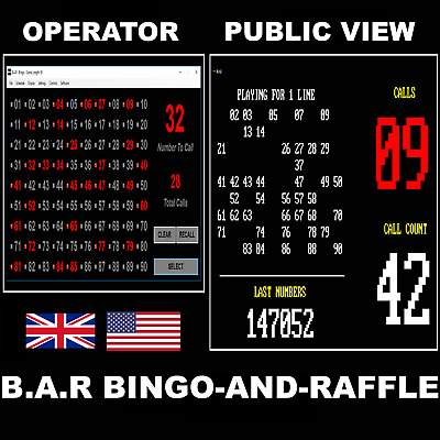 Bingo And Raffle Machine Random Number Selector - Dual Screen - Software