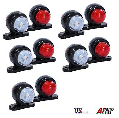 10x Red White Corner Side Marker LED Lights Outline Lamp Truck Trailer Van 12V