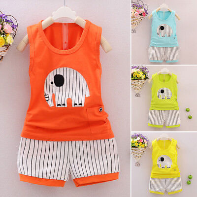 Baby Kids Boys Clothes Top Vest & Short Pants 2pcs Summer Outfits 6-36 Months Uk