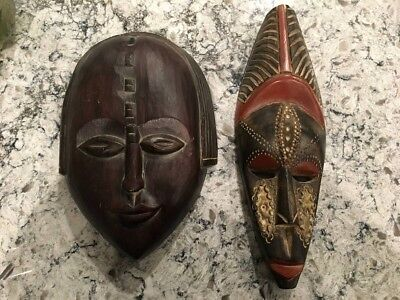 African tribal mask set wood with tin