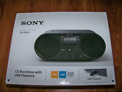 Sony CD MP3 Boombox mit USB Playback, Audio in für Smartphones und Co. ZS-PS50