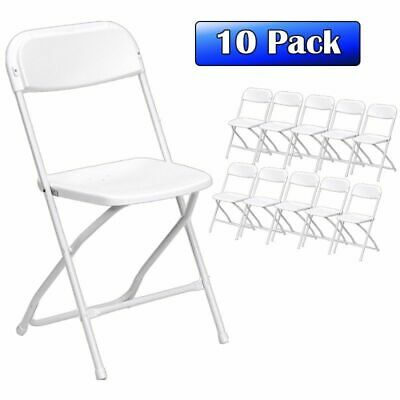 Heavy Duty Commercial White Plastic Folding Chair 10 Pack Wedding Party Chairs