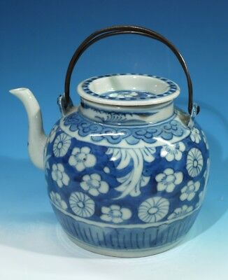 Antique Chinese Blue & White Porcelain Tea Pot with Metal Swing Handles.