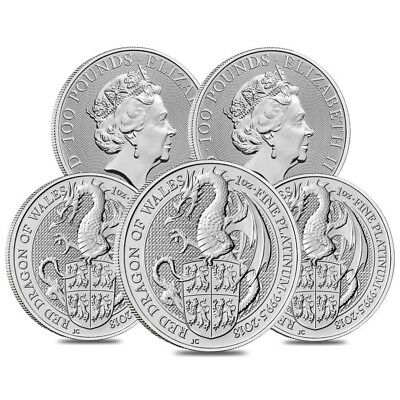Lot of 5 - 2018 Great Britain 1 oz Platinum Queen's Beasts (Red Dragon) Coin BU