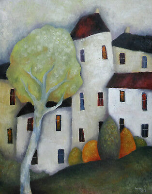Original Large Oil on canvas 30 x 24 in. 'Trees & White Houses' by Jeremy Mayes