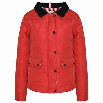 Kids Jackets Girls Red Quilted Padded Collar Buttoned Zipped Jacket Thick Coat