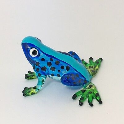 Blue Frog Figurine Miniature Amphibian Animal Hand Blown Glass Hand Painted