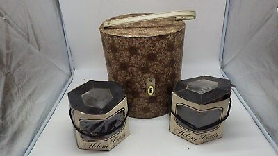 Vintage Everbest Hollywood FL Wig Case Hat Box & 2 Helene Curtis Wigs w/ Tags