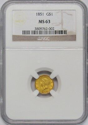 1851 Gold Dollar NGC MS-63