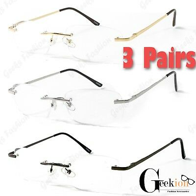 26703ffc0fe 3 Pairs Mens Womens Rimless Metal Frame Retro Power Clear Reading Reader  Glasses