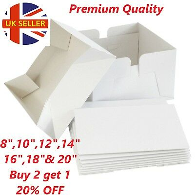 """White Cake Boxes 8"""",10"""" 12"""" 14""""16""""18"""" & 20"""",Cupcake boxes available,400GSM BOXS"""