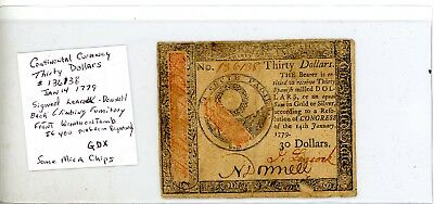 Jan 14, 1779 $30 CONTINENTAL CURRENCY Mica Chips # 136138