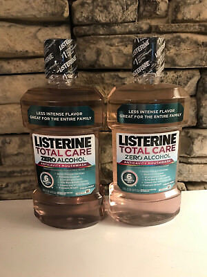 2 Pack Listerine Total Care Zero Alcohol 1 Liter Each Mouthwash Fresh Mint