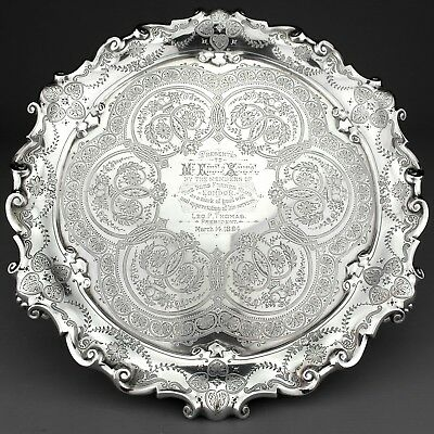 Antique Ornate Victorian Solid Sterling Silver Salver/Tray - London 1894, 510g.