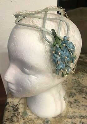 True Vintage Floral Headband Hat 1950's Blue Flowers and Tulle accents