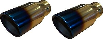 """x2 Burnt Ionized Universal 9"""" Car Exhaust Tip End Pipe Stainless Steel Round"""