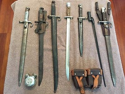 Collection of 7 Old Bayonets French German Chinese Japanese US ??? Russian