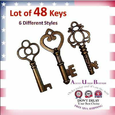 Antique SKELETON Keys VINTAGE Style Furniture Cabinet OLD LOCK KEYS Copper 48pcs