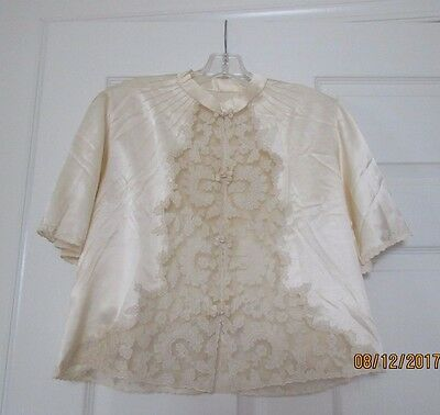 silk and lace blouse made in china 1940s new vintage