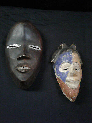 2 Hand Carved Painted Tribal Masks, 1 large 1 small