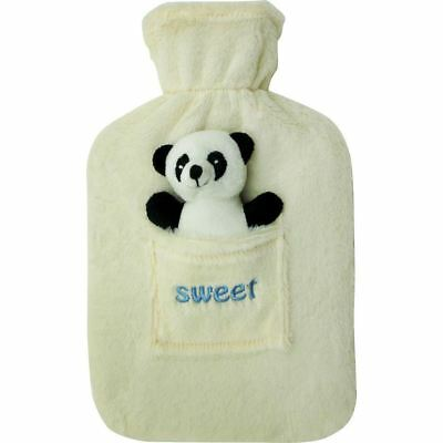 Large Hot Water Bottle with Cover 2 Litre Soft Warm Fleece - Panda