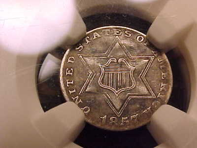 1857 Three Cent Silver, NGC VF 35, a nice, Original NEVER CLEANED coin