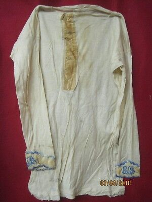 Antique Under Shirt with blue Embroidery Lisle Thread