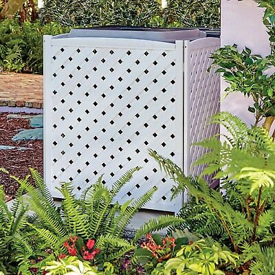 Air Conditioner Screen Wood A/C Lattice Fence Garden Privacy White Free  Ship S
