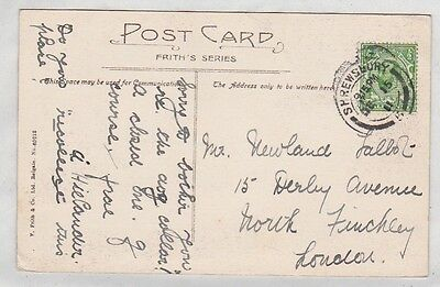 GB GV G5 PPC 1911 ½d Downey green Die 1a SHREWSBURY medium arc postmark