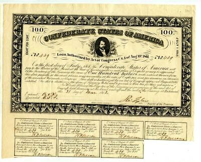 1862   $100    Confederate   Bond    Number Issued 727