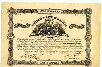 1862   $100    Confederate   Bond    Number Issued 1,094