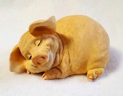 """Pig Figurine Sleeping Smile Dream Curly Tail Peach Color Solid Resin 2.5 x 4.75"""""""
