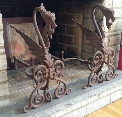 Pair Antique cast iron Dragon Fireplace Andirons Griffin Fire Gothic Rare SE/PA