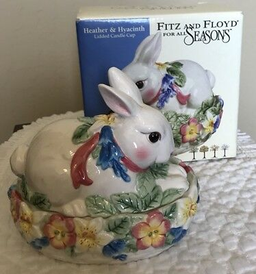 """Fitz & Floyd Lidded Candle Cup """"Heather & Hyacinth"""" For All Seasons Rabbit"""
