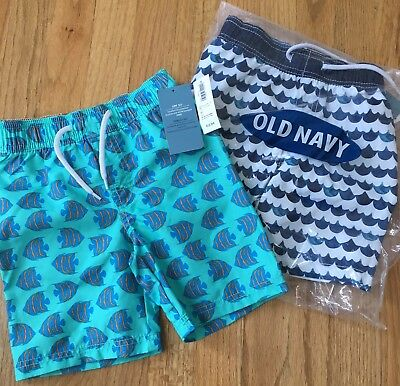 NWT Two pairs of Old Navy boy toddler swim trunks size 3T