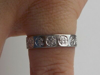 Silver Band Ring With Chinese Symbols Metal Detecting Find