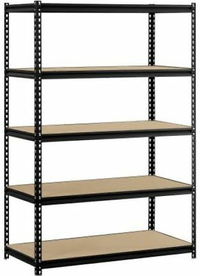 "Muscle Rack 5-Shelf Steel Shelves Black MetalWood Storage 48""W x 24""D x 72""H"
