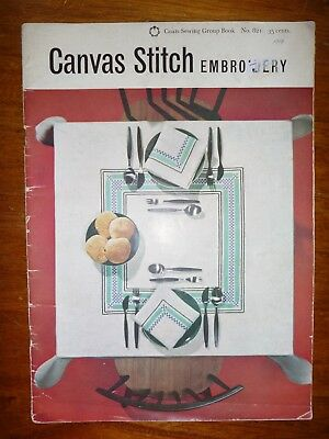 Vintage Canvas Stitch Embroidery Pattern Book By Coats No 821