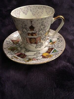 Russian Imperial Lomonosov Porcelain Bone Tea cup & saucer Winter Day Gold Rare