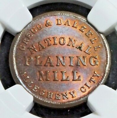 ALLEGHENNY PA  13C-2a  GREGG & DALZELL..NGC MS65RB..RARITY 6..FANTASTIC TONING